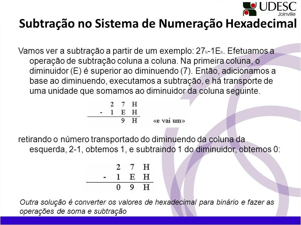 Vamos ver a subtração a partir de um exemplo: 27 h -1E h. Efetuamos a operação de subtração coluna a coluna. Na primeira coluna, o diminuidor (E) é su