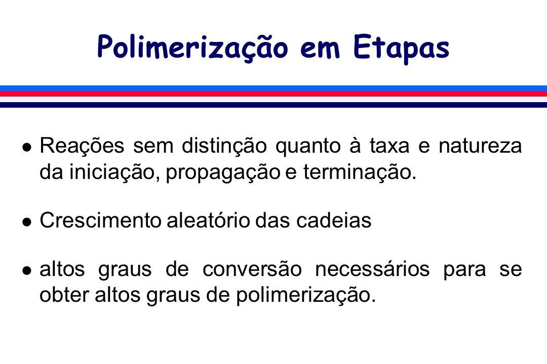 Polimerização em Etapas l Reações sem distinção quanto à taxa e natureza da iniciação, propagação e terminação. l Crescimento aleatório das cadeias l