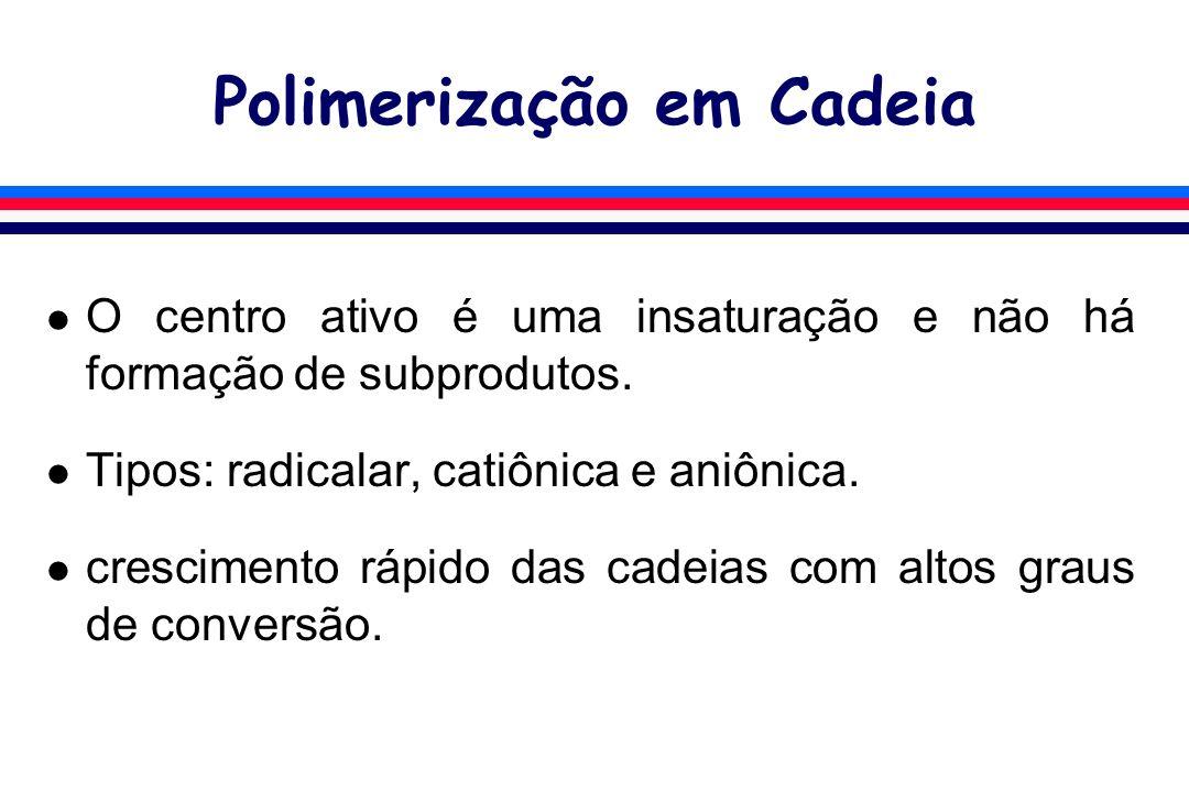 Polimerização em Cadeia l O centro ativo é uma insaturação e não há formação de subprodutos. l Tipos: radicalar, catiônica e aniônica. l crescimento r