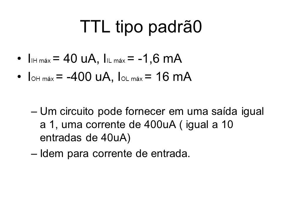 TTL tipo padrã0 I IH máx = 40 uA, I IL máx = -1,6 mA I OH máx = -400 uA, I OL máx = 16 mA –Um circuito pode fornecer em uma saída igual a 1, uma corre