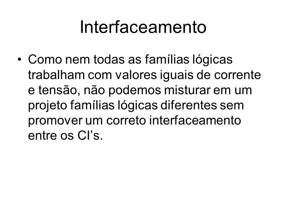 Interfaceamento Como nem todas as famílias lógicas trabalham com valores iguais de corrente e tensão, não podemos misturar em um projeto famílias lógi