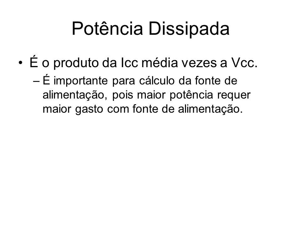 Potência Dissipada É o produto da Icc média vezes a Vcc. –É importante para cálculo da fonte de alimentação, pois maior potência requer maior gasto co