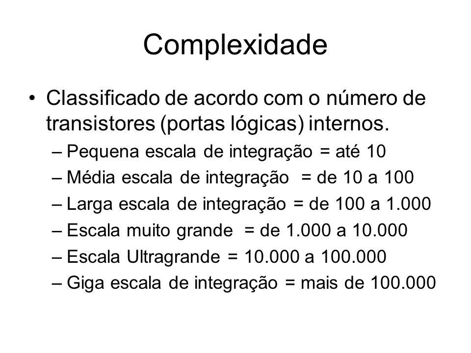 Complexidade Classificado de acordo com o número de transistores (portas lógicas) internos. –Pequena escala de integração = até 10 –Média escala de in
