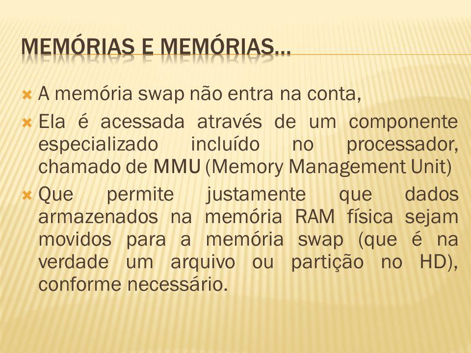 A memória swap não entra na conta, Ela é acessada através de um componente especializado incluído no processador, chamado de MMU (Memory Management Un