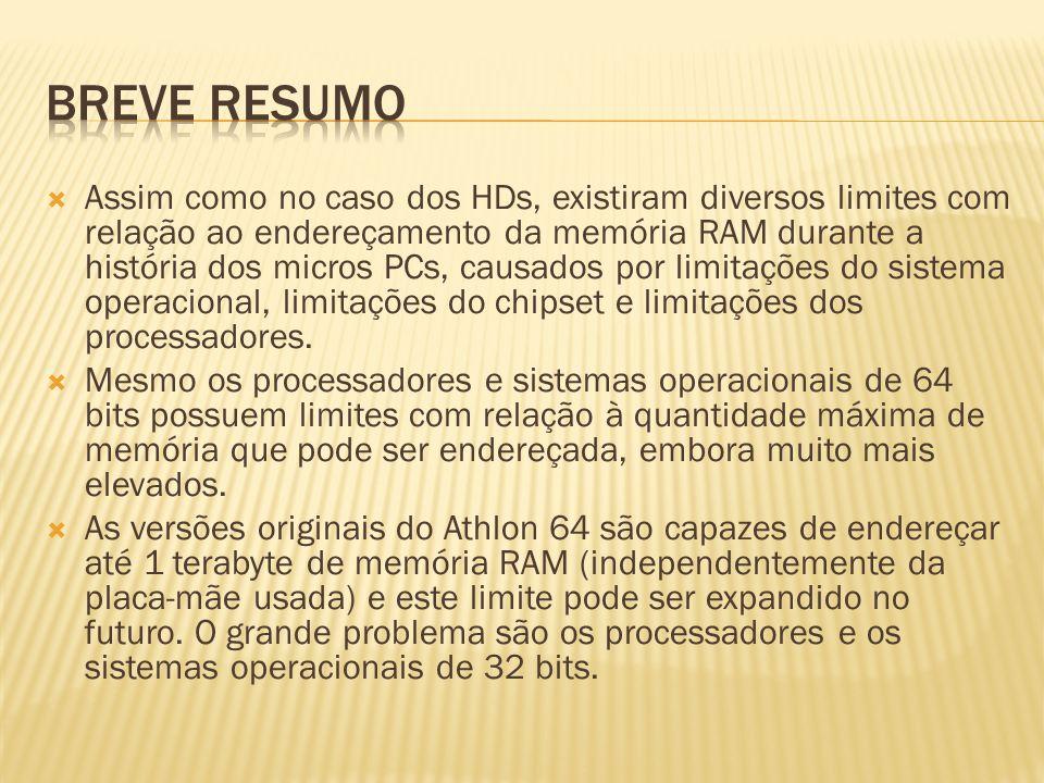 Assim como no caso dos HDs, existiram diversos limites com relação ao endereçamento da memória RAM durante a história dos micros PCs, causados por limitações do sistema operacional, limitações do chipset e limitações dos processadores.