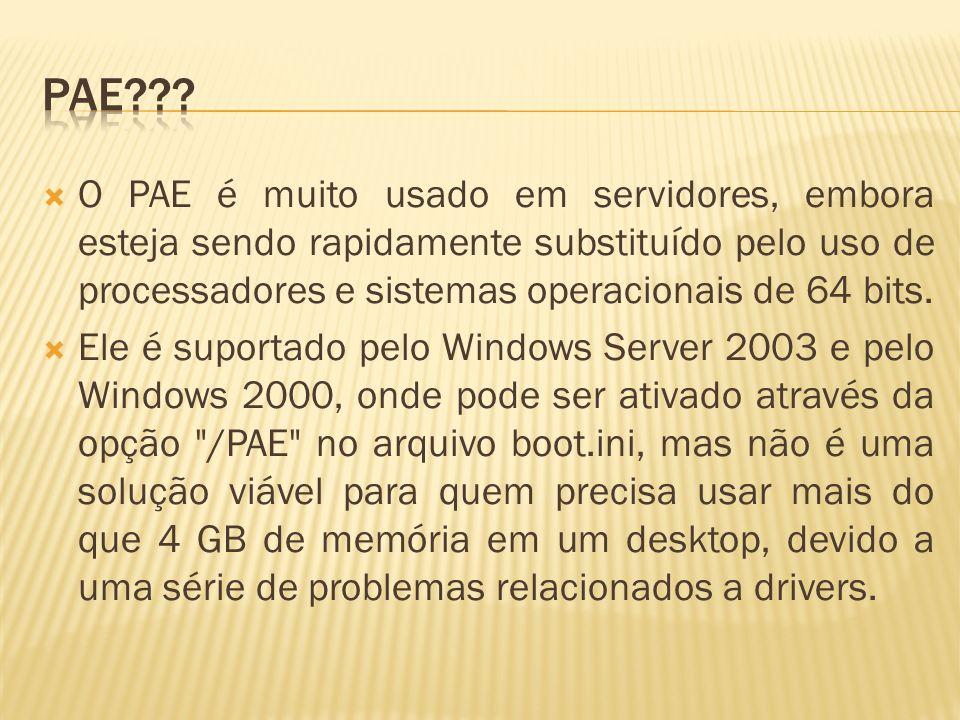 O PAE é muito usado em servidores, embora esteja sendo rapidamente substituído pelo uso de processadores e sistemas operacionais de 64 bits. Ele é sup