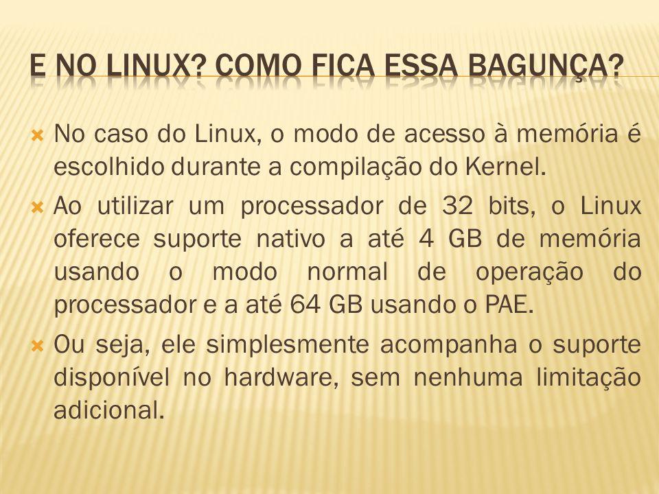 No caso do Linux, o modo de acesso à memória é escolhido durante a compilação do Kernel. Ao utilizar um processador de 32 bits, o Linux oferece suport