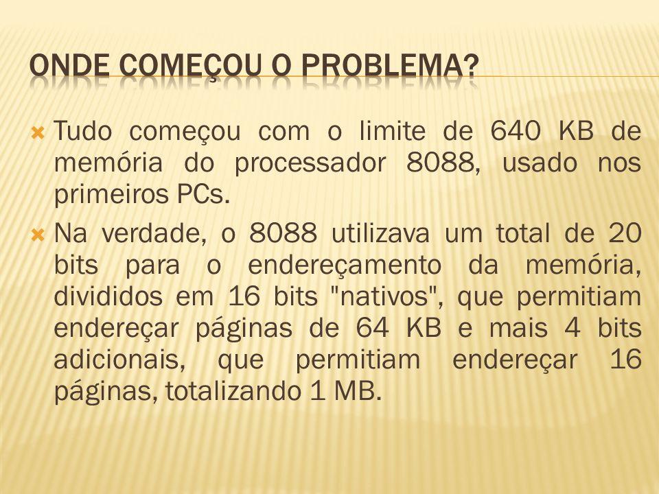 Tudo começou com o limite de 640 KB de memória do processador 8088, usado nos primeiros PCs. Na verdade, o 8088 utilizava um total de 20 bits para o e