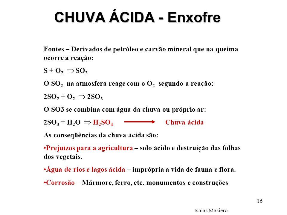 16 CHUVA ÁCIDA - Enxofre Fontes – Derivados de petróleo e carvão mineral que na queima ocorre a reação: S + O 2 SO 2 O SO 2 na atmosfera reage com o O