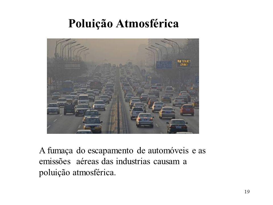 19 Poluição Atmosférica A fumaça do escapamento de automóveis e as emissões aéreas das industrias causam a poluição atmosférica.