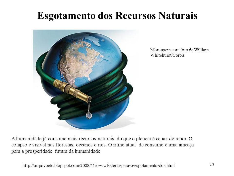 Esgotamento dos Recursos Naturais 25 A humanidade já consome mais recursos naturais do que o planeta é capaz de repor. O colapso é visível nas florest