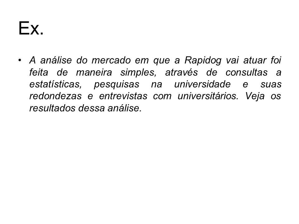Ex. A análise do mercado em que a Rapidog vai atuar foi feita de maneira simples, através de consultas a estatísticas, pesquisas na universidade e sua