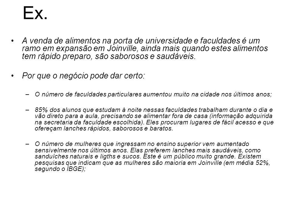 Ex. A venda de alimentos na porta de universidade e faculdades é um ramo em expansão em Joinville, ainda mais quando estes alimentos tem rápido prepar