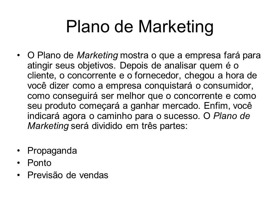 Plano de Marketing O Plano de Marketing mostra o que a empresa fará para atingir seus objetivos. Depois de analisar quem é o cliente, o concorrente e