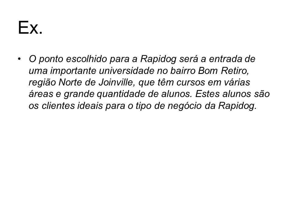 Ex. O ponto escolhido para a Rapidog será a entrada de uma importante universidade no bairro Bom Retiro, região Norte de Joinville, que têm cursos em