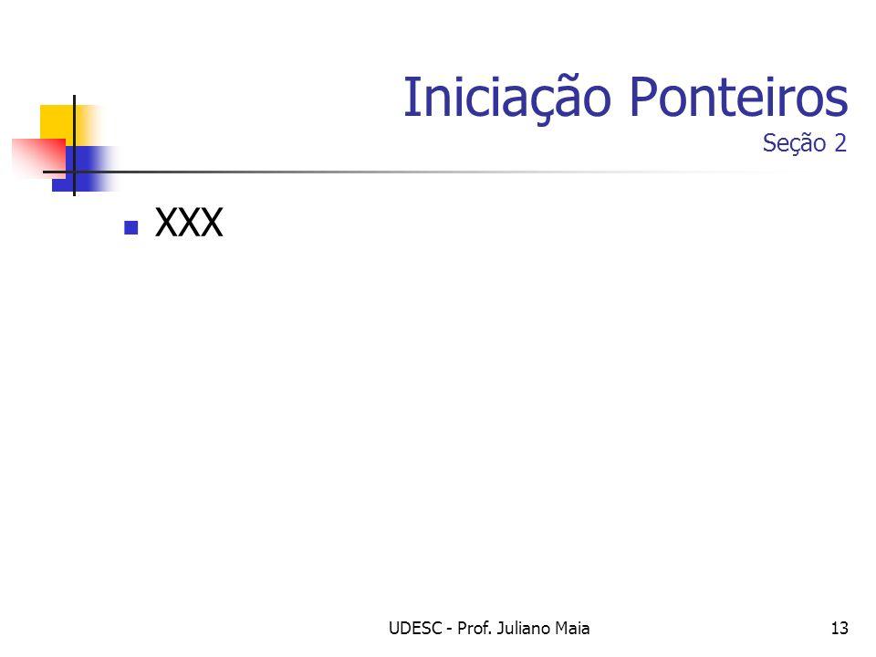 UDESC - Prof. Juliano Maia13 Iniciação Ponteiros Seção 2 XXX