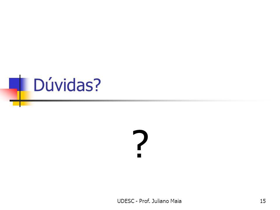 UDESC - Prof. Juliano Maia15 Dúvidas? ?