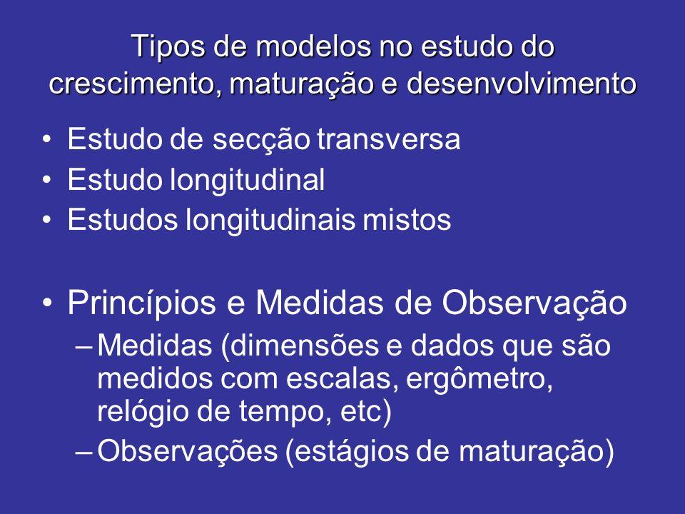 Tipos de modelos no estudo do crescimento, maturação e desenvolvimento Estudo de secção transversa Estudo longitudinal Estudos longitudinais mistos Pr