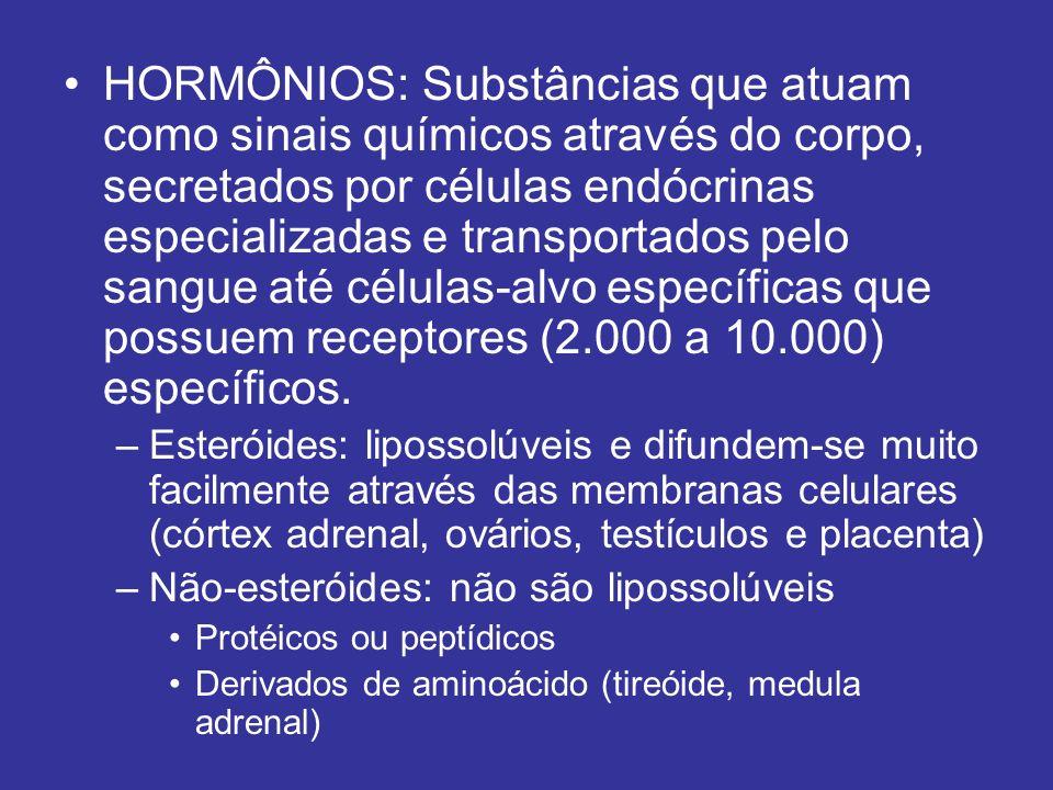 HORMÔNIOS: Substâncias que atuam como sinais químicos através do corpo, secretados por células endócrinas especializadas e transportados pelo sangue a
