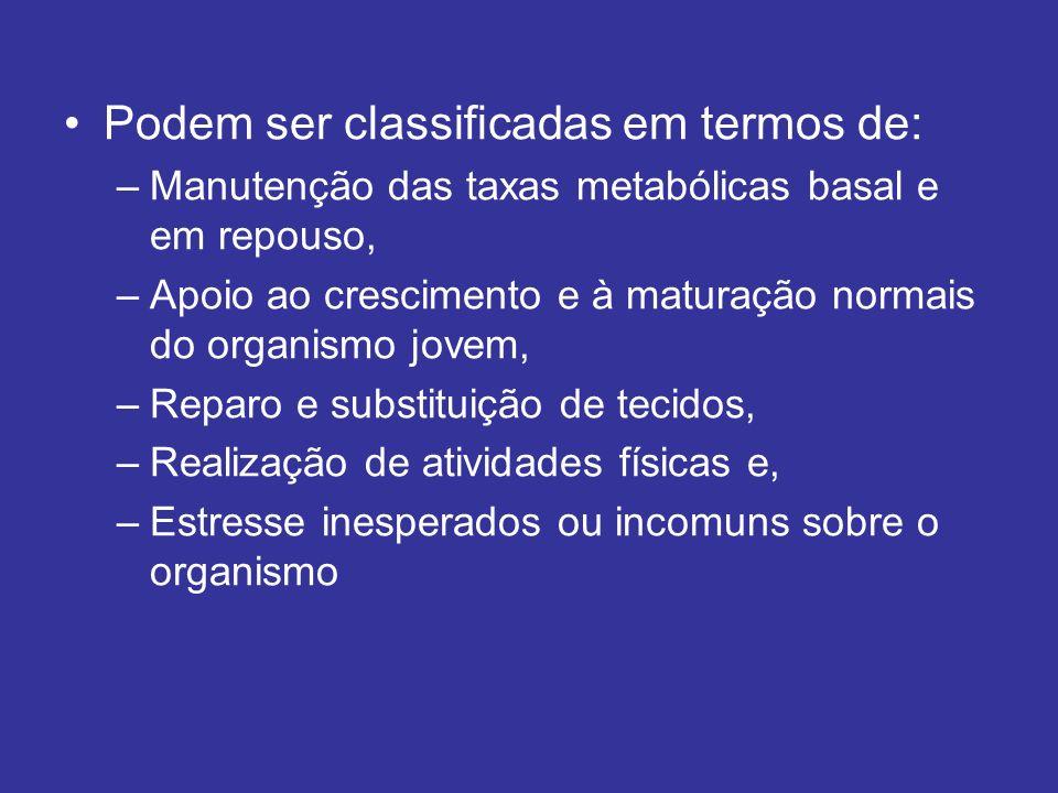 Podem ser classificadas em termos de: –Manutenção das taxas metabólicas basal e em repouso, –Apoio ao crescimento e à maturação normais do organismo j