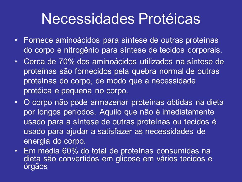 Necessidades Protéicas Fornece aminoácidos para síntese de outras proteínas do corpo e nitrogênio para síntese de tecidos corporais. Cerca de 70% dos