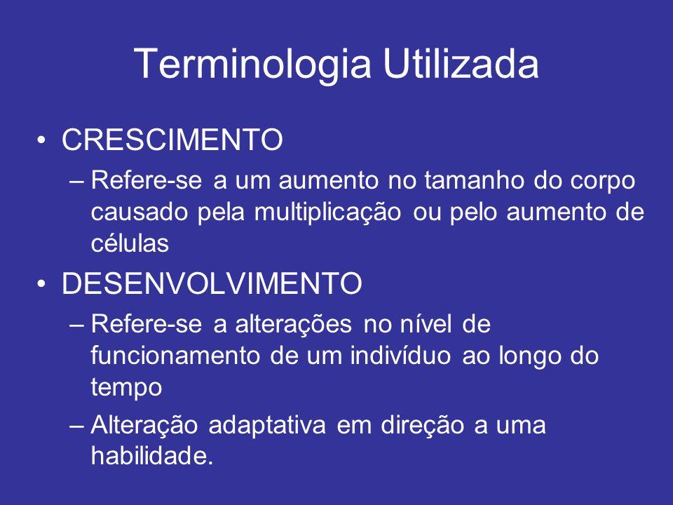 Terminologia Utilizada CRESCIMENTO –Refere-se a um aumento no tamanho do corpo causado pela multiplicação ou pelo aumento de células DESENVOLVIMENTO –