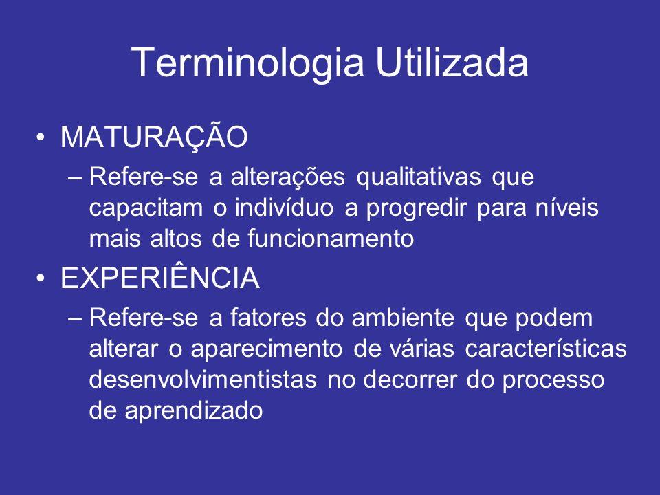 Terminologia Utilizada MATURAÇÃO –Refere-se a alterações qualitativas que capacitam o indivíduo a progredir para níveis mais altos de funcionamento EX