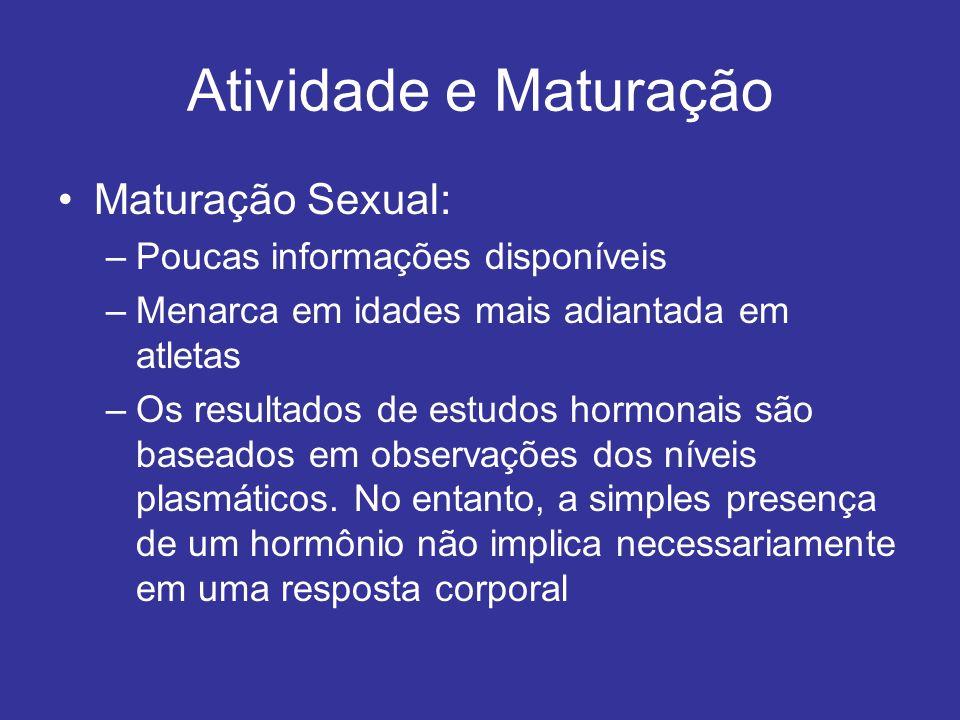 Atividade e Maturação Maturação Sexual: –Poucas informações disponíveis –Menarca em idades mais adiantada em atletas –Os resultados de estudos hormona