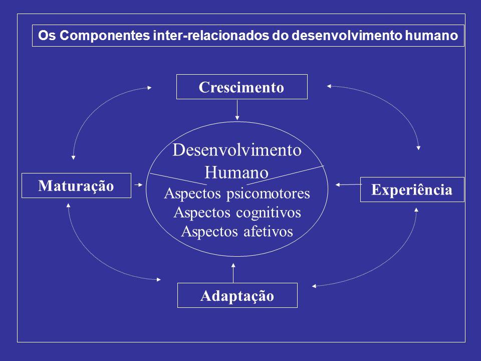 Desenvolvimento Humano Aspectos psicomotores Aspectos cognitivos Aspectos afetivos Adaptação Experiência Crescimento Maturação Os Componentes inter-re
