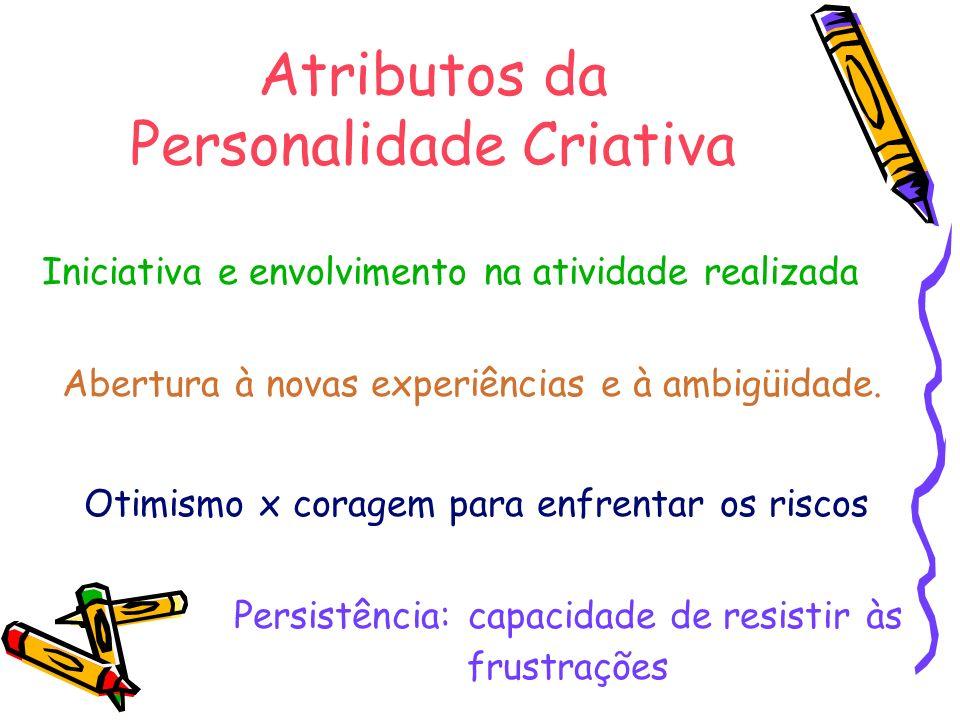Atributos da Personalidade Criativa Iniciativa e envolvimento na atividade realizada Otimismo x coragem para enfrentar os riscos Abertura à novas expe