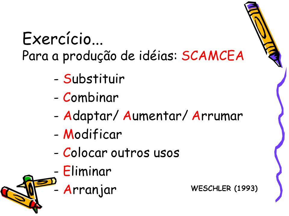 Exercício... Para a produção de idéias: SCAMCEA - Substituir - Combinar - Adaptar/ Aumentar/ Arrumar - Modificar - Colocar outros usos - Eliminar - Ar