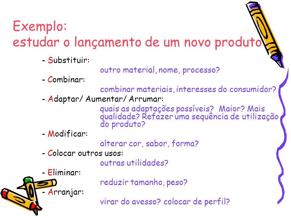 Exemplo: estudar o lançamento de um novo produto - Substituir: outro material, nome, processo? - Combinar: combinar materiais, interesses do consumido