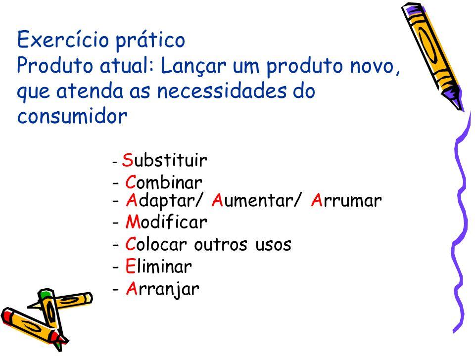 Exercício prático Produto atual: Lançar um produto novo, que atenda as necessidades do consumidor - Substituir - Combinar - Adaptar/ Aumentar/ Arrumar