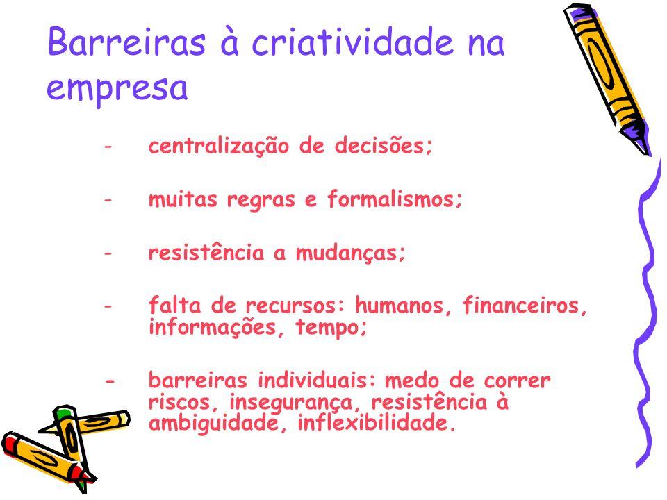 Barreiras à criatividade na empresa -centralização de decisões; -muitas regras e formalismos; -resistência a mudanças; -falta de recursos: humanos, fi