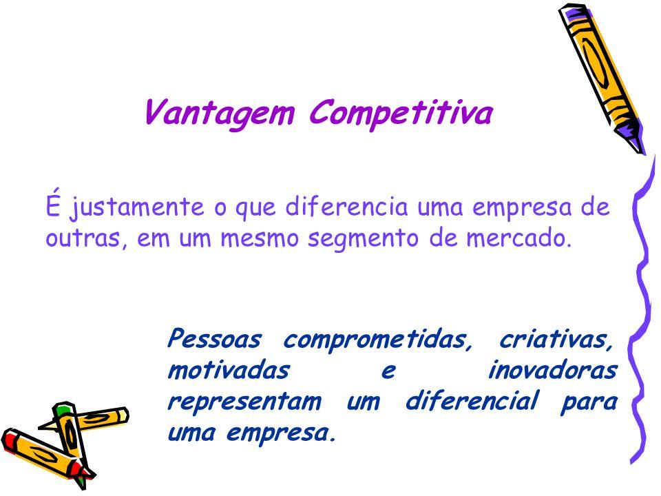 Vantagem Competitiva É justamente o que diferencia uma empresa de outras, em um mesmo segmento de mercado. Pessoas comprometidas, criativas, motivadas