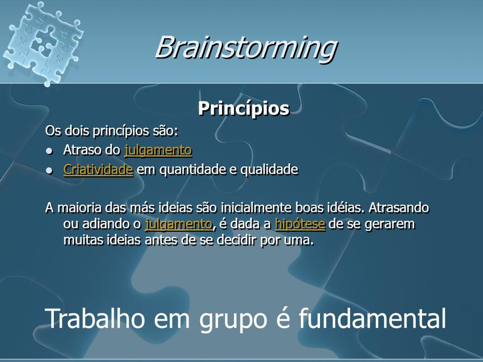 Brainstorming Trabalho em grupo é fundamental Princípios Os dois princípios são: Atraso do julgamentojulgamento Criatividade em quantidade e qualidade