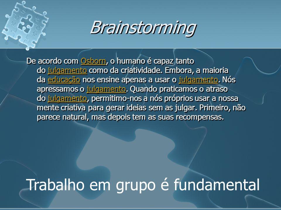 Brainstorming Trabalho em grupo é fundamental De acordo com Osborn, o humano é capaz tanto do julgamento como da criatividade. Embora, a maioria da ed