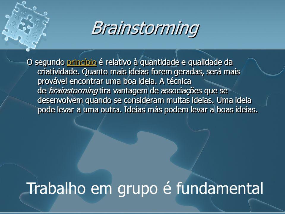 Brainstorming Trabalho em grupo é fundamental O segundo princípio é relativo à quantidade e qualidade da criatividade. Quanto mais ideias forem gerada