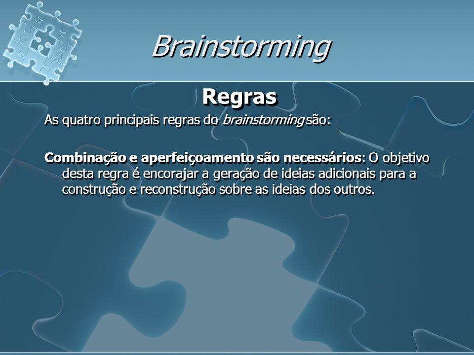 Brainstorming Regras As quatro principais regras do brainstorming são: Combinação e aperfeiçoamento são necessários: O objetivo desta regra é encorajar a geração de ideias adicionais para a construção e reconstrução sobre as ideias dos outros.Regras As quatro principais regras do brainstorming são: Combinação e aperfeiçoamento são necessários: O objetivo desta regra é encorajar a geração de ideias adicionais para a construção e reconstrução sobre as ideias dos outros.