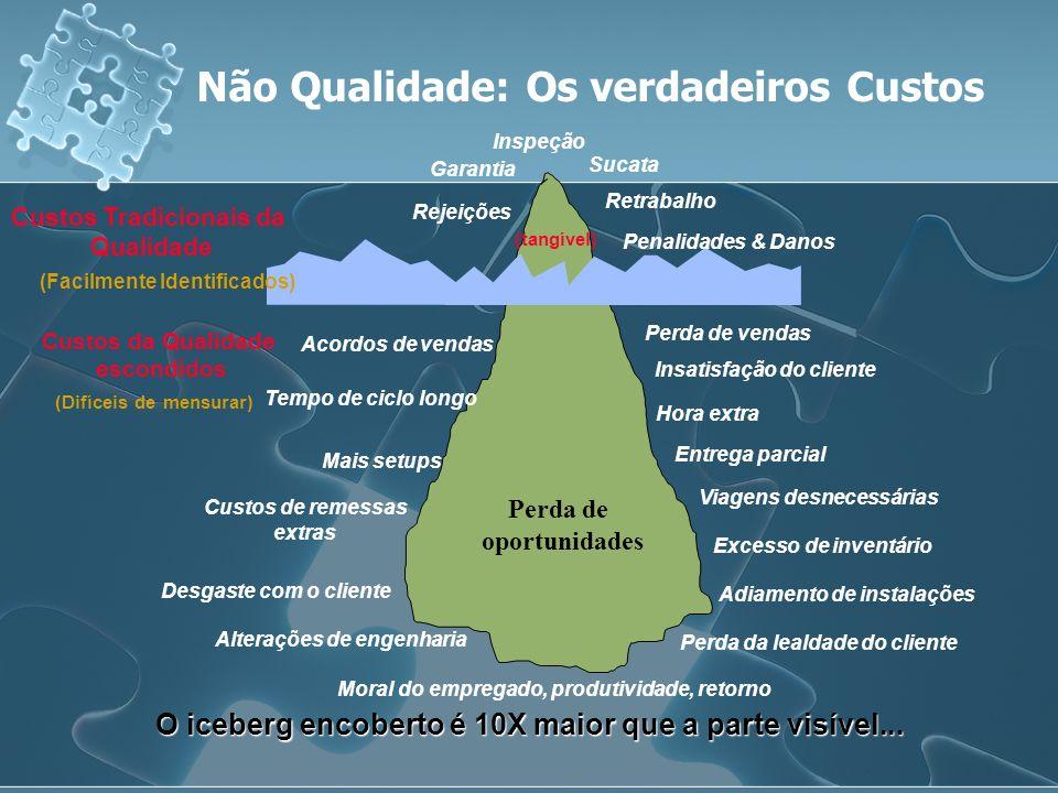 Não Qualidade: Os verdadeiros Custos O iceberg encoberto é 10X maior que a parte visível... Sucata Retrabalho Inspeção Garantia Rejeições Perda de ven