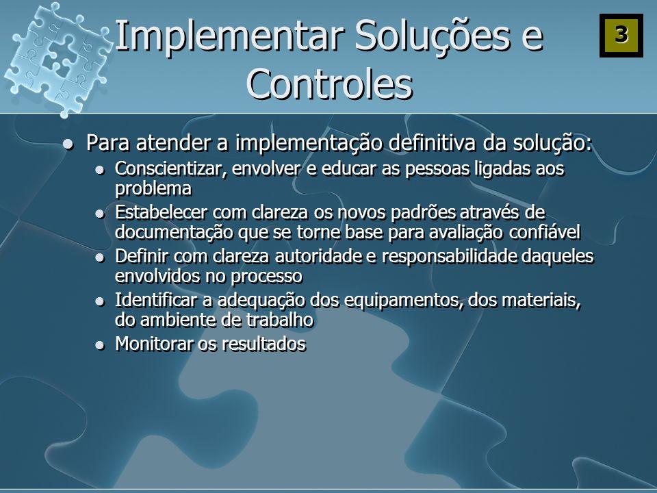 Implementar Soluções e Controles Para atender a implementação definitiva da solução: Conscientizar, envolver e educar as pessoas ligadas aos problema