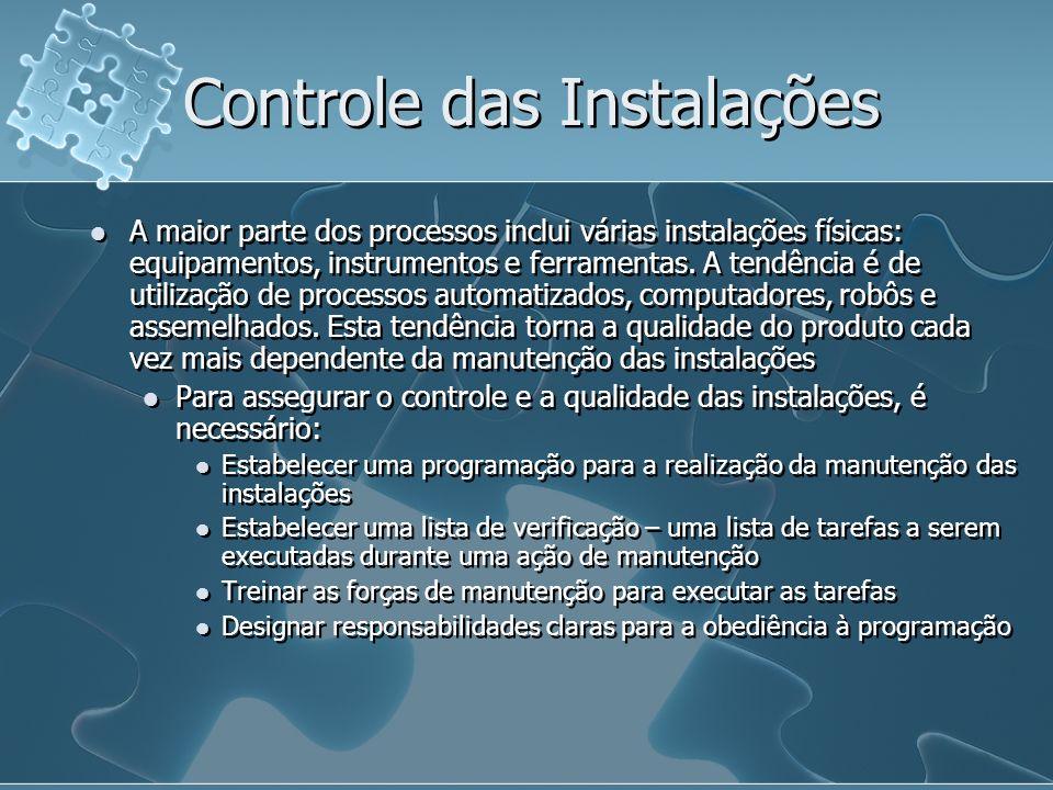 Controle das Instalações A maior parte dos processos inclui várias instalações físicas: equipamentos, instrumentos e ferramentas.
