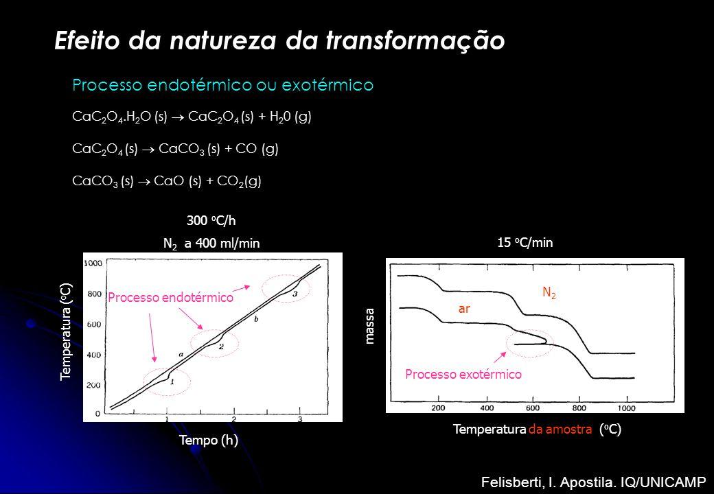 Efeito da natureza da transformação Processo endotérmico ou exotérmico CaC 2 O 4.H 2 O (s) CaC 2 O 4 (s) + H 2 0 (g) CaC 2 O 4 (s) CaCO 3 (s) + CO (g)