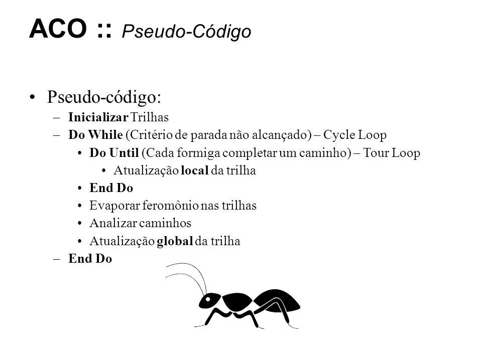 Pseudo-código: –Inicializar Trilhas –Do While (Critério de parada não alcançado) – Cycle Loop Do Until (Cada formiga completar um caminho) – Tour Loop