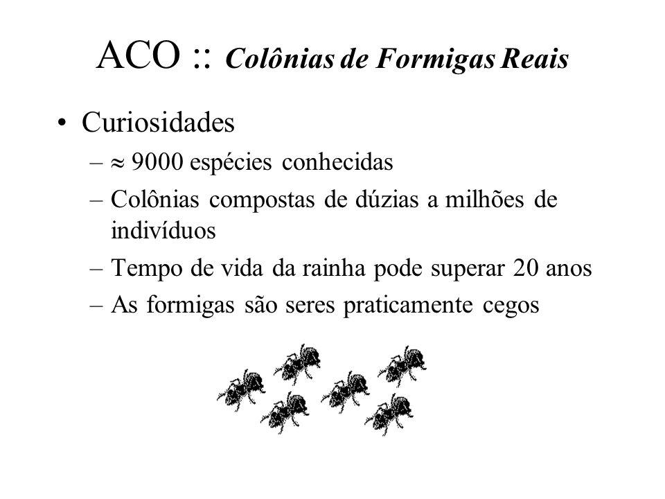 ACO :: Colônias de Formigas Reais Curiosidades – 9000 espécies conhecidas –Colônias compostas de dúzias a milhões de indivíduos –Tempo de vida da rain