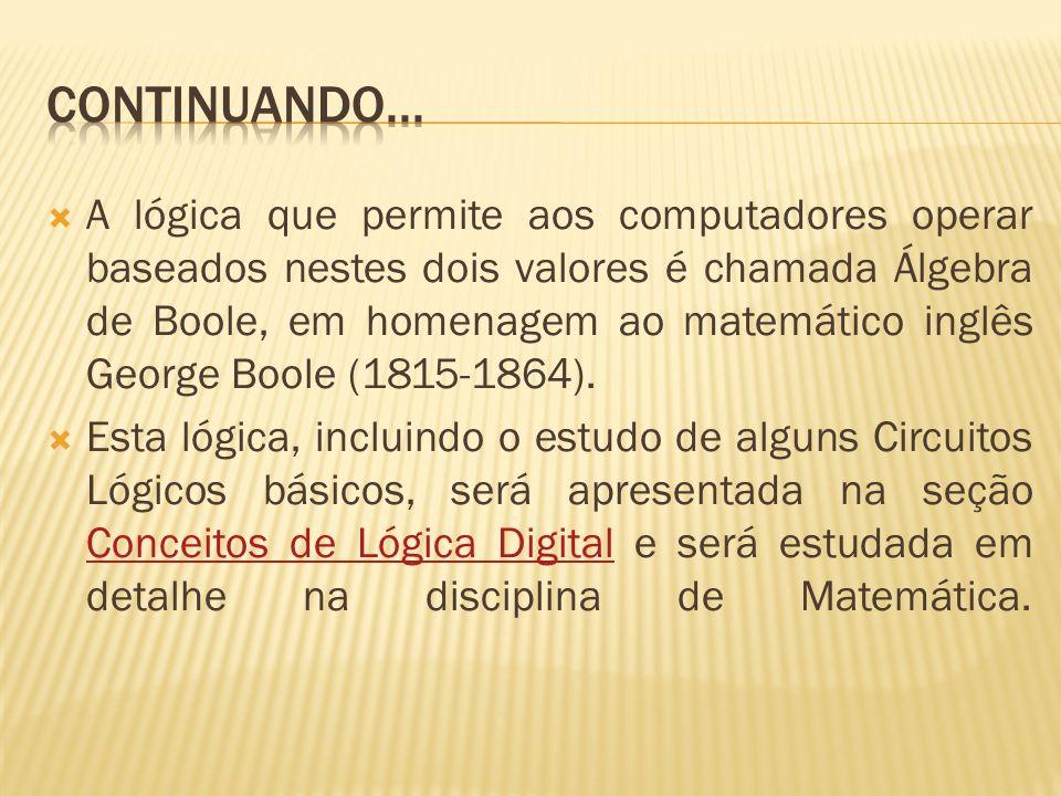 A lógica que permite aos computadores operar baseados nestes dois valores é chamada Álgebra de Boole, em homenagem ao matemático inglês George Boole (