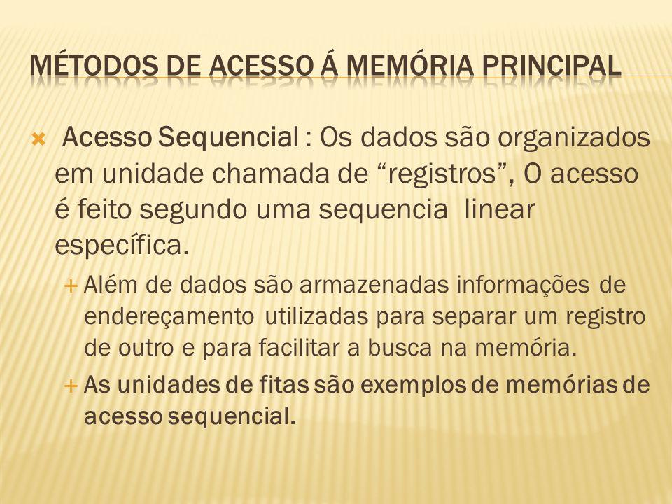 Acesso Sequencial : Os dados são organizados em unidade chamada de registros, O acesso é feito segundo uma sequencia linear específica. Além de dados