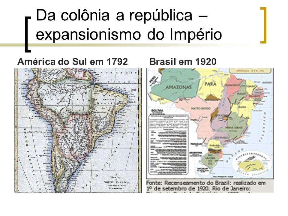 Da colônia a república – expansionismo do Império América do Sul em 1792Brasil em 1920