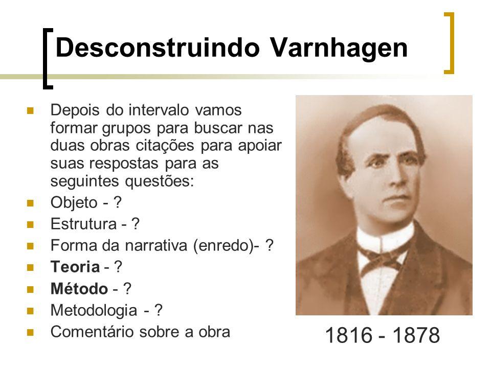 Desconstruindo Varnhagen Depois do intervalo vamos formar grupos para buscar nas duas obras citações para apoiar suas respostas para as seguintes ques