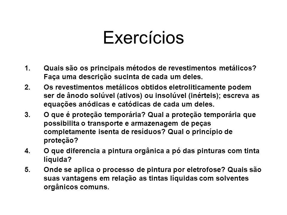 Exercícios 1.Quais são os principais métodos de revestimentos metálicos? Faça uma descrição sucinta de cada um deles. 2.Os revestimentos metálicos obt